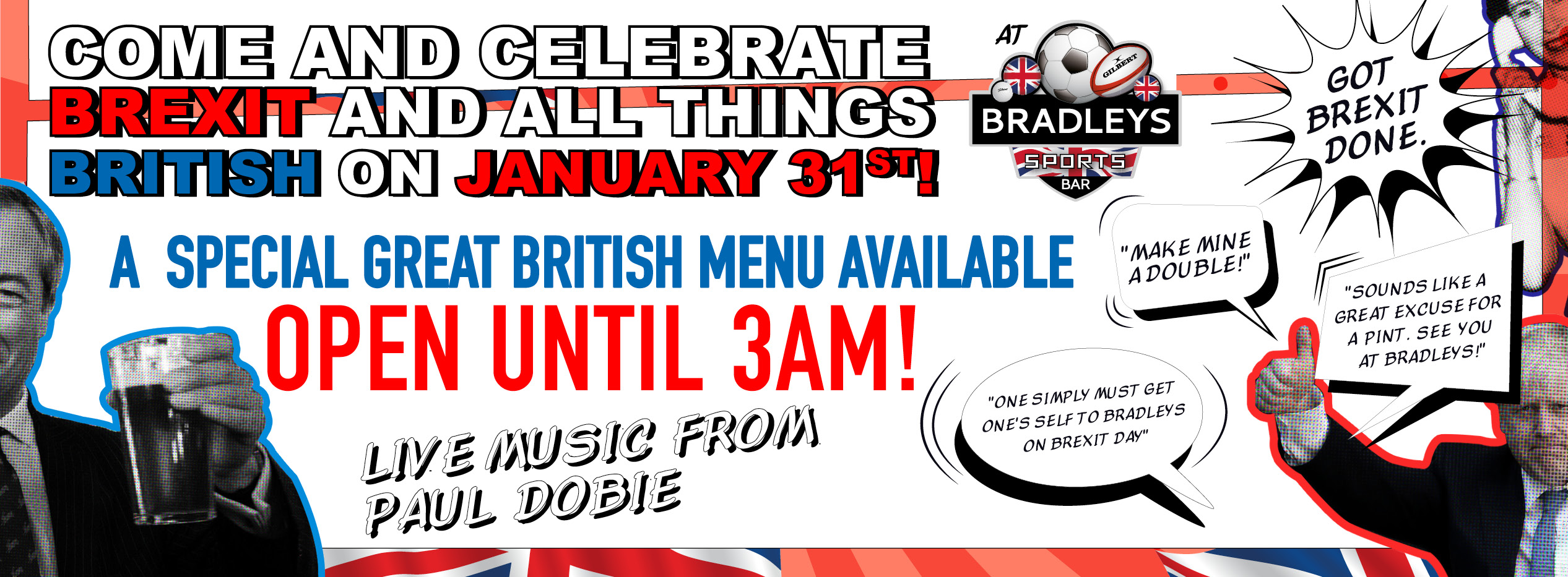 CELEBRATE BREXIT WITH US ON 31ST JANUARY!
